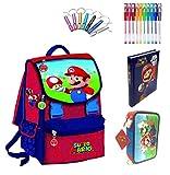 Mochila escolar Super Mario con seta Versión Deluxe Viaje + Estuche de 3 pisos completo + Diario + Silbato + Regalo + Bolígrafo de colores