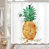 MERCHR Duschvorhang mit tropischen Ananas-Motiven, Wasserfarben, Ananasgrüne Blätter, Duschvorhang, wasserdicht, bunt, exotisches Obstgewebe, Duschvorhang-Sets mit Haken, 174 x 178 cm, Gelbgrün