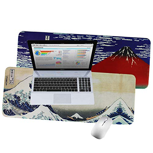 LIZIMANDU Gaming Mouse Pad,Extended Large Pattern Anti Slip Stitched Edges Long XXL Mousepad,Desk Pad Keyboard Mat, Non-Slip Base, Water-Resistant, for Gaming,Office & Home (2-Japanese, 2 Pack)