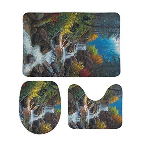 Alfombra bellamente Impresa, 20 '' × 32 '', tapete de Terciopelo Coral Tres Juegos, Mountain Cascade