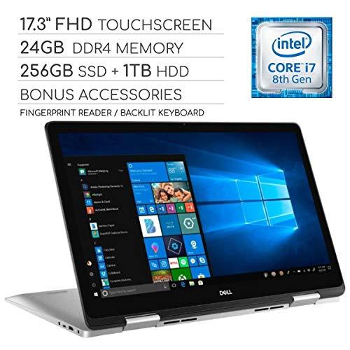 "Dell Inspiron 17 7000 Series 2019 2-in-1 17.3"" FHD Touchscreen Laptop, 4-Core Intel Core i7-8565U 1.8GHz, 24GB RAM, 256GB SSD + 1TB HDD, Backlit Keyboard, Wi-Fi, Bluetooth, Webcam, HDMI, Windows 10"