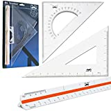 Mr. Pen Architectural Triangular Ruler Set with 12 Inch Triangular Scale, 11 Inch 30/60 and 8 Inch 45/90 Triangles