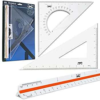 Mr Pen Architectural Triangular Ruler Set with 12 Inch Triangular Scale 11 Inch 30/60 and 8 Inch 45/90 Triangles