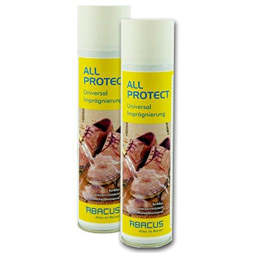 ABACUS All Protect 2X 400 ml Spray Set (7331) - Schuhimprägnierung Textilimprägnierung Lederimprägnierung Spray Imprägnierung Cabriodachimprägnierung Cabrio Cabrioverdeck Nano Abperleffekt