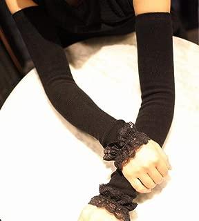 ARMWEQD Braccio pi/ù Caldo Scaldamuscoli Primavera Autunno per Scaldamani Donna Polsino in Pizzo Nero Guanti Lunghi Senza Dita in Cotone Manicotto per Braccio in Pizzo