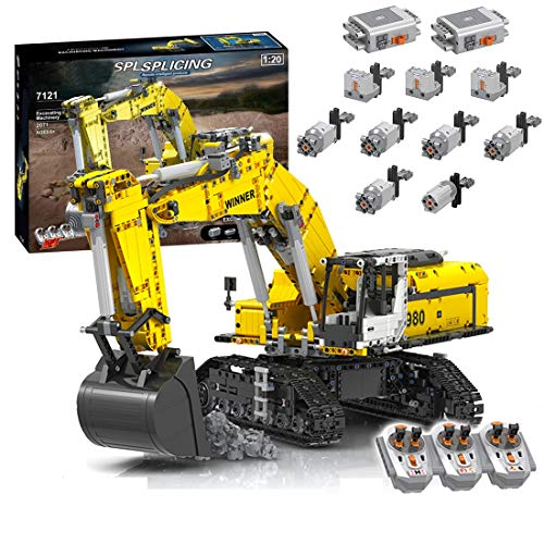 KEAYO Excavadora con control remoto, técnica grande, motorizada, con motor, bloques de construcción, compatible con excavadora Lego Technik
