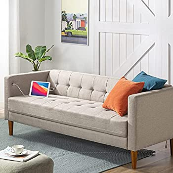 ZINUS Pascal Sofa with USB Ports / Tool-Free Easy Assembly Oatmeal
