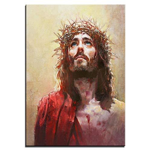 LOIUYT Christian Art Wall Arpillera Impresión Figura 1 Mesa Jesús Pintura Decoración del hogar Imagen religiosa moderna Cartel Modular del pasillo 40x55cm