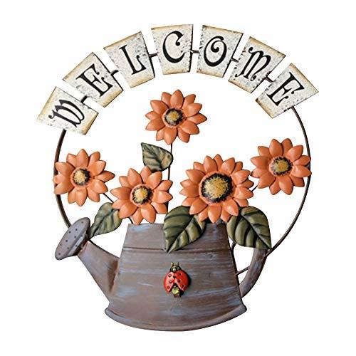 INFILM - Targa di benvenuto a tema giardino vintage in metallo con annaffiatoio a forma di girasole, in stile rustico, da appendere alla porta di casa