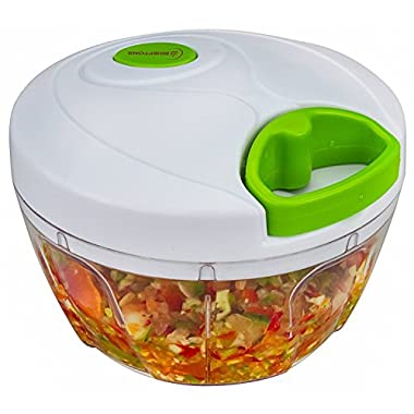 Brieftons Manual Food Chopper, Compact and Powerful Hand Held Vegetable Chopper/Mincer/Blender to Chop Fruits/Vegetables/Nuts/Herbs/Onions/Garlics for Salsa/Salad/Pesto/Coleslaw/Puree