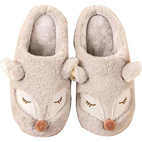 B/H Indoor Home Fluffy Slippers Shoes,Pantofole da Donna simpatico cartone animato ,Scarpe Basseinvernali inPeluche-Grigio Chiaro_40-41,Zapatos de algodón de Felpa de Interior de Fondo Grueso