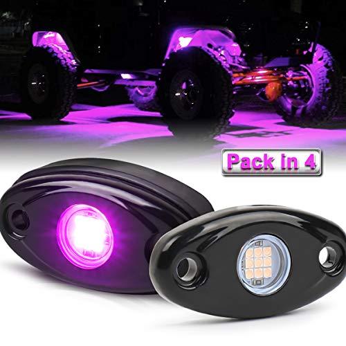 LED Rock Lights, 4 Pods Purple LED Neon Underglow Light Kits Waterproof IP68 for Jeep Off Road ATV SUV Trucks Cars Motorcycle Rock Light kit