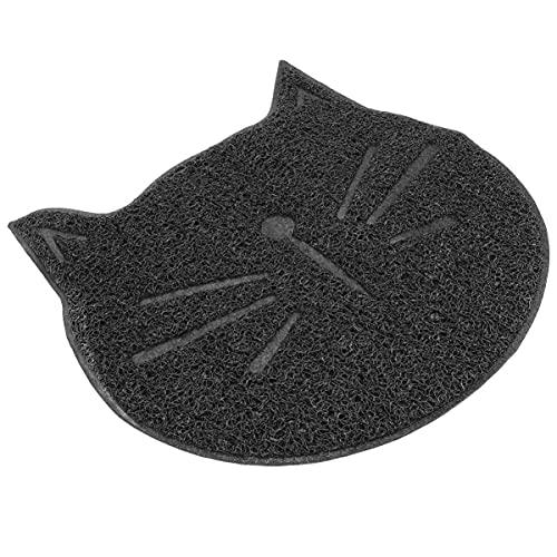 M I A Alfombrilla de arena para gatos con forma de cara de gato, antideslizante, para gatos y conejos (color negro)