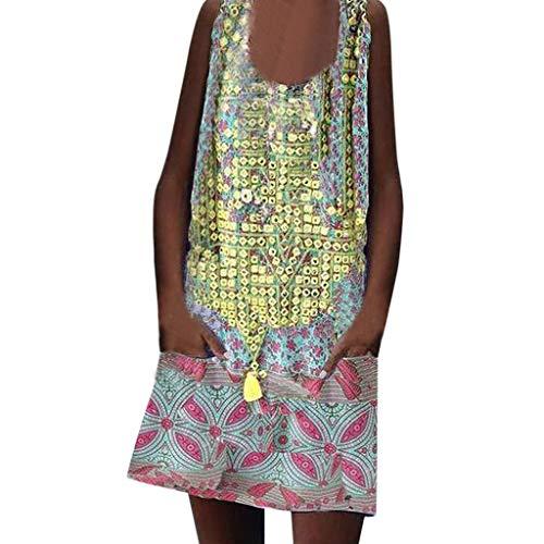 Vestidos de túnica sin Mangas para Mujer Vestido Floral Casual Africano Verano Vestido Boho Rebajas Vestido Playeras exóticas Top S-2XL
