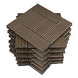 WOLTU GTF004br Pavimenti da Esterno Balcone/Giardino/Terrazza Piastrelle ad Incastro in WPC, Legno Composito Marrone (11 Pannelli / 1 m²)