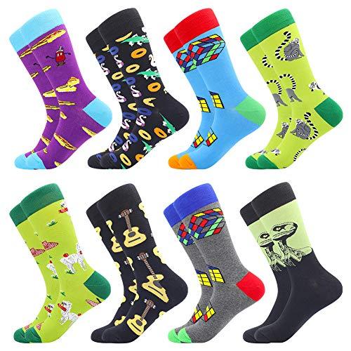 Men's Fun Dress Socks Crew Colorful Funky Fancy Novelty Funny Casual Patterned Socks for Men (8 Pairs-Dinosaur)