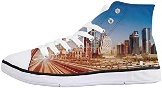 Urban Comfortable High Top Canvas Shoes,Historical Architecture European City Building in London British Culture Art Photo Print for Women Girls,US 5