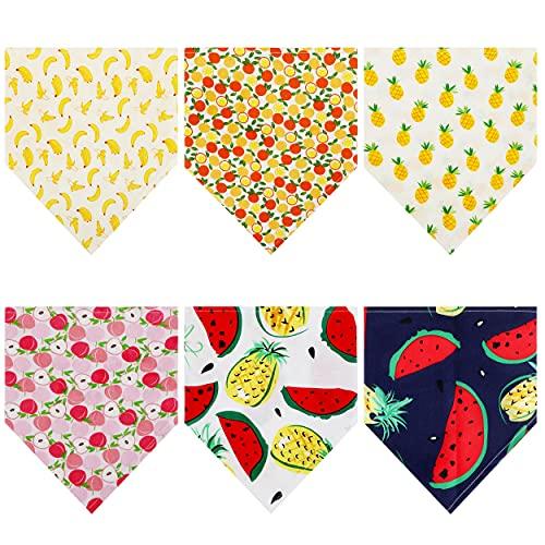 Pañuelos para Perros 6 Pañuelos de Bandanas de Perros de Triangular, Algodón Verano Bufanda de Perro con Estampado de Frutas para Perros Medianos y Grandes, Cachorros