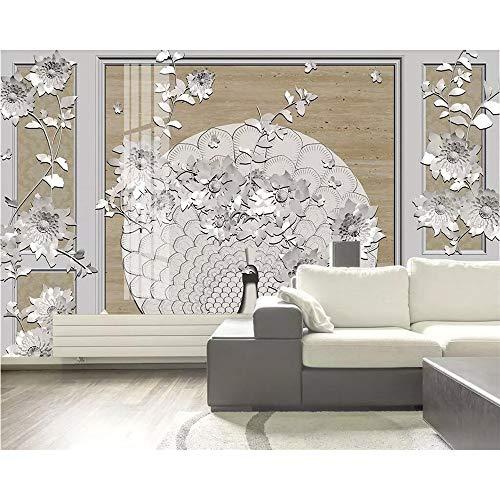 Shuangklei op maat foto behang nieuwe Chinese harde tas pioen Pauw Sieraden Stereo Tv decoratieve schilderij 350 x 250 cm.