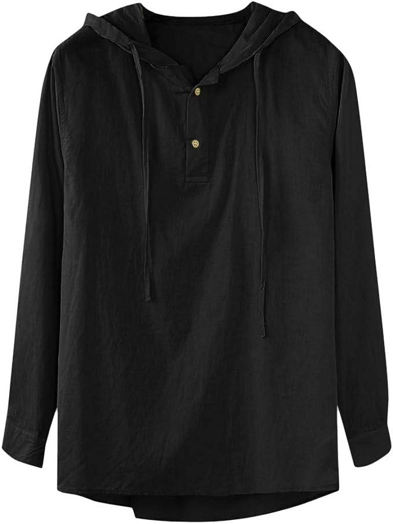 WUAI-Men Long Sleeve Pullover Hoodie Linen Henley Shirts Casual Lightweight Hippie Yoga Cotton Tee Tops