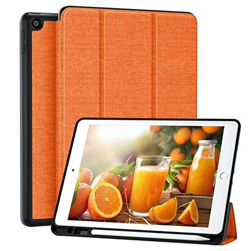 Upeak Case Compatible with iPad 10.2 Inch(8th Generation 2020/7th Generation 2019), Trifold Stand Cover Protective Case with Built-in Pencil Holder for iPad 10.2', Auto Wake/Sleep, Orange