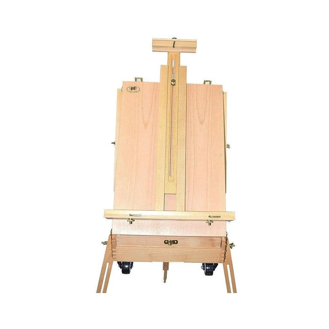 こんにちは管理する不安定画板 イーゼル2輪折りたたみボックススケッチ折りたたみ油絵エルム油絵スタンドストラップツールボックスロッド輸入 イーゼル 木製