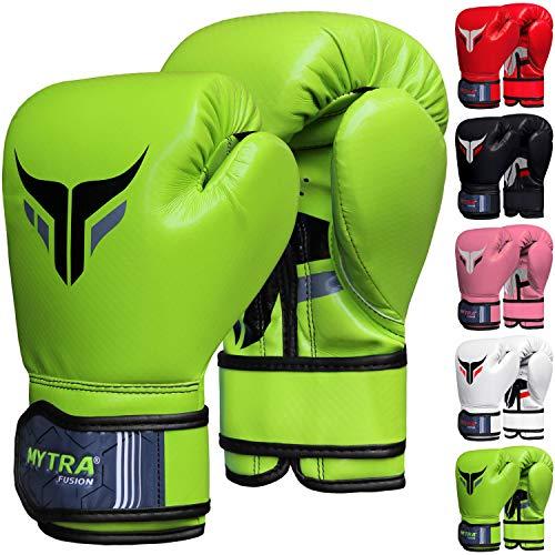 Mytra Fusion Kids Boxing Gloves Carbon AL2 (Green, 6OZ)