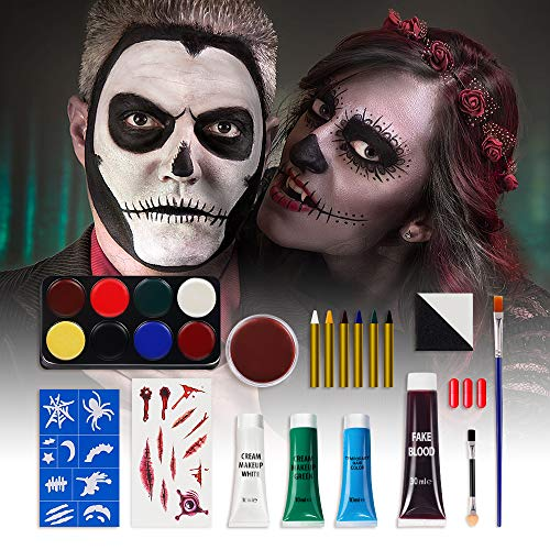 Halloween Makeup Set Ultimate Family Party Pack, Face Body Paint Special Effect Makeup, Washable & Non-Toxic, Standard Packaging for Kids and Adults