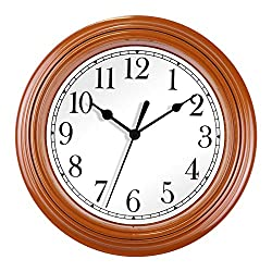 Foxtop 9 Inch Silent Non Ticking Battery Operated Quartz Analog Quiet Easy to Read Retro Wall Clock for Kitchen Decoration (Brown)