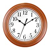 Foxtop 9 Inch Silent Non Ticking Battery Operated Quartz Analog Quiet Easy to Read Retro Wall Clock for Kitchen Home Decoration (Brown)