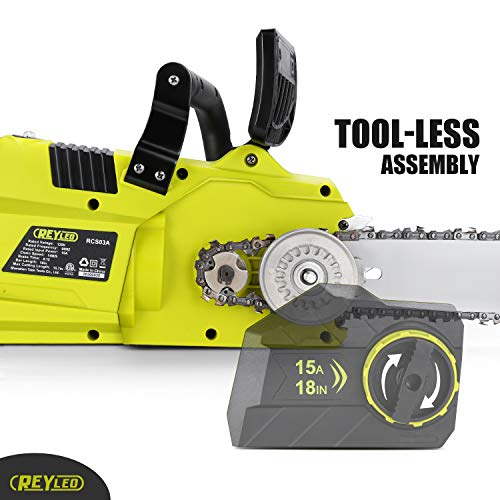 REYLEO 18-Inch Electric Chainsaw, 15-Amp Corded Chainsaw, Oregon chain, LED Power Indicator, Auto- Lubrication, Easy Assembly, RCS03A