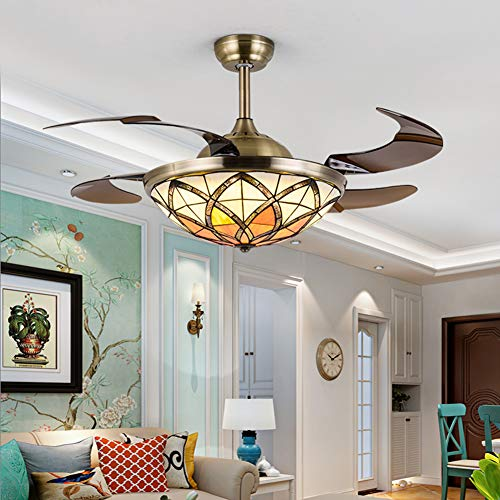 LAMP-XUE Tiffany-stijl plafondventilator met licht 42