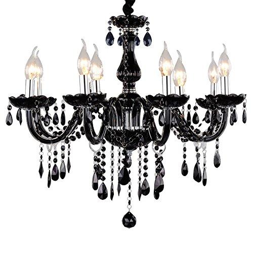 sailun®, Araña de cristal clásico colgante Negro Lámpara de techo plafón Antiguo latón cristales 5/6/810+ de 5focos E14