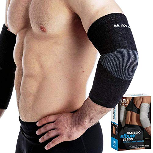 Mava Sports Bamboo Elbow Compression Sleeves, Black, Large
