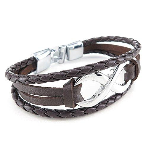 KONOV Jewellery Herren Damen Leder Armband, Infinity Armreif, Braun Silber (mit Geschenk Tüte)