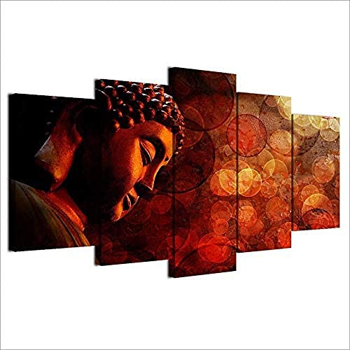 WxzXyubo Home Wall Art Decor Canvas Frame Picture 5 Pieces Buddha Red Psychedelic Poster for Living Room HD Print Modular Painting 100 x 50 cm with Frame