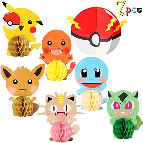 7pcs Pikachu Honeycomb Table Centerpieces, Double-Sided Cake Topper Table Decoration for Kids Birthday Party, Anime Party Supplies for Cartoon Themed Party, Photo Booth Props