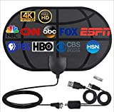 Indoor Digital TV Antenna with Amplifier, Equipped with 16.5Ft Long Coaxial Cable and AC Adapter, Indoor HDTV Antenna Supporting 4K 1080p and All Local Channels of Old TV HD VHF UHF TV