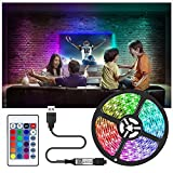 Tira LED de 2/5/10 m, tira LED 5050 RGB, cinta de TV, multicolor, se puede cortar neón, 20 colores y 6 modos de...