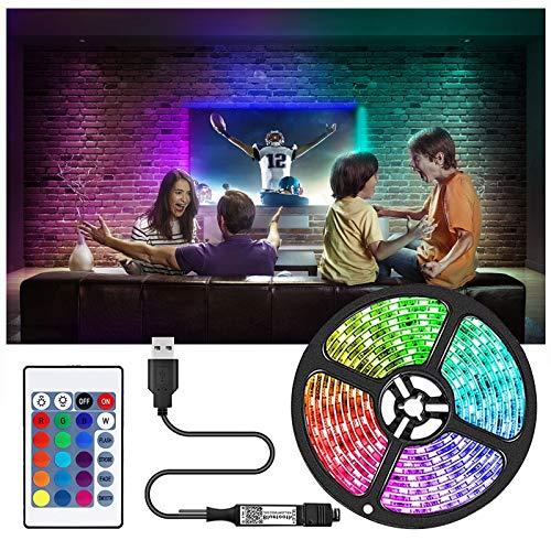 Tira LED de 2/5/10 m, tira LED 5050 RGB, cinta de TV, multicolor, se puede cortar neón, 20 colores y 6 modos de decoración para casa, cocina, fiesta, bar, Navidad (2 m)