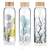 FCSDETAIL Sport Borosilikat Trinkflasche Glas Wasserflasche mit Neopren-Hülle mit Bambusdeckel 420 ml / 660 ml /1000 ml - 6