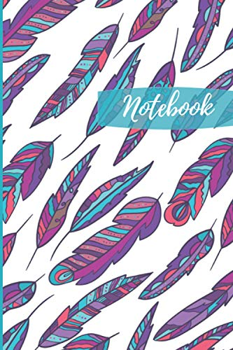 Notebook: Beautiful Boho Multicolor Feather Blank Lined Journal Notebook