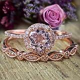 Sale 2 Carat Antique Vintage Style Morganite and Diamond Halo Bridal Wedding Ring Set 10k Rose Gold