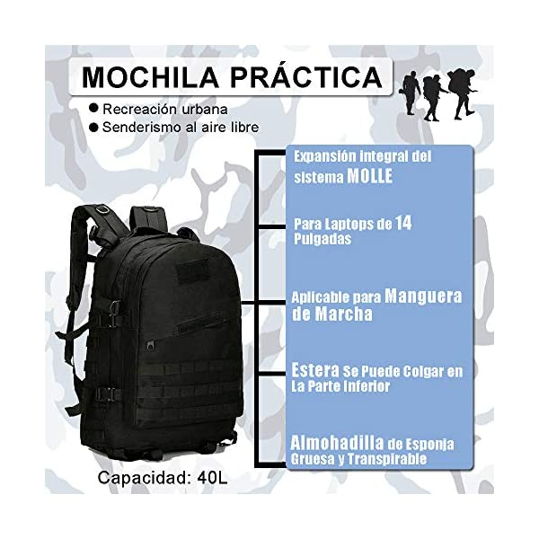 51l7uYeiKtL. SS600  - Satohom Mochila Táctica Militar Hombre para Asalto Bolsa Unisex Impermeable Mochila Escolar Tela Oxford 600D para…
