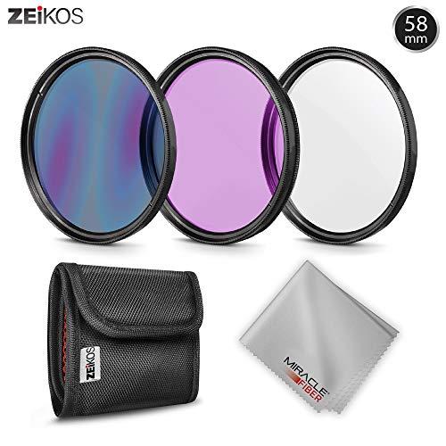 Zeikos 58mm Filter-Set mit UV-, PL-, FDL-Glaslinsen, ZE-FLK58 inklusive Aufbewahrungstasche