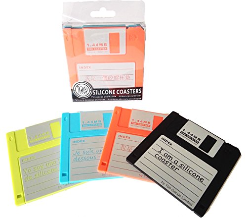 PHT Silicone Blanked Label Retro 3.5 Inches Floppy Disk All-weather Coasters, 4.7 X 3.6', Set of 8