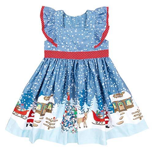 Vestido de Navidad para niños de 0 a 4 años, diseño de Papá Noel Azul claro A. 120 cm