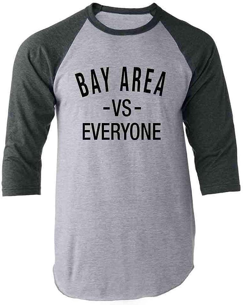 Bay Area vs Everyone San Francisco Oakland Gray 2XL Raglan Baseball Tee Shirt