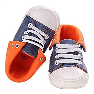 Mix and Max Contrast Folded Collar Lace-Up Half Boots for Girls - Navy and Orange, 9-12 Months