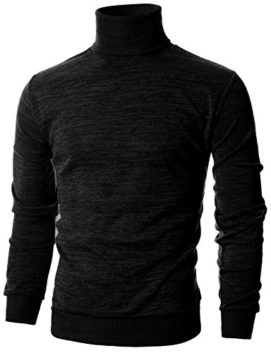 OHOO Mens Slim Fit Long Sleeve Turtleneck Mixed Ribbed Hem Pullover Sweater/DCP024-BLACK-M